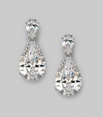 EXCLUSIVELY AT SAKS. A breathtaking pear shaped drop earring in cubic zirconia.Cubic zirconia Rhodium plated sterling silver Length, about 1 Width, about ½ Post and clutch backs Imported