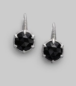 Faceted black onyx is distinctive and dramatic in a richly textured setting of sterling silver. Black onyx Sterling silver Drop, about ¾ Diameter, about ½ Post back Made in USA