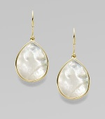 Thin slices of iridescent mother-of-pearl, delicately framed in 18k gold. White mother-of-pearl 18k gold Drop, about 1 Ear wire Imported