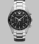 A smooth black dial complements the look of this sophisticated chronograph design in brushed and polished stainless steel with signature silver applied logo.Chronograph movementRound bezelWater resistant to 5ATMDate display at 5 o'clock Second handStainless steel case: 43mm (1.69)Stainless steel braceletImported