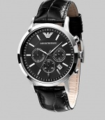 A classic timepiece fit for a lifetime of wear in solid stainless steel with chronograph functionality and a croco-embossed leather strap. Quartz movement Water-resistant to 5ATM /50m Stainless steel case, 43mm, 1.69 Leather strap, 22mm wide, .87 Sapphire crystal Black dial Hour markers Date display Imported
