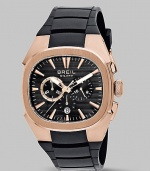 A sport-inspired look crafted with quartz precision and two-eye chronograph detail on a rubber band. Quartz movement Water-resistant to 10ATM Rose IP stainless steel case; 44mm diameter (1.7) Black sunray dial Second hand Date display at 6:00 Rubber strap Imported