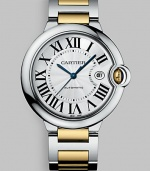 Elegant automatic timepiece in steel with 18k yellow gold accents. Round face Case, 42mm X 13mm, 1.65 X 0.51 Roman numeral markers Date display Second hand Band width, 20mm, 0.79 Made in Switzerland