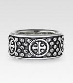 The essence of modern style, hand-forged with dimensional detail in riveted sterling silver. Sterling silver Band width, 11mm (0.43) Made in USA