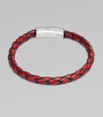 A hand-braided strand of fine Italian leather is offset by a gleaming sterling silver clasp. Leather Sterling silver About 8¼ long Lobster clasp Made in the United Kingdom