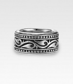 A handsome, sterling silver band is enriched by scrolling Sparta engraving. 13mm wide Made in USA