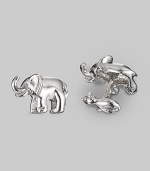 A fun design in sterling silver, with an elephant on the front and a mouse-shaped t-back. Elephant length, about 1 Made in USA