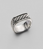 Handsomely detailed, sterling silver sculpted cable square ring. From the Heirloom Collection Overall, 24.7mm diam. Imported