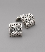 Sterling silver woven bamboo square cuff links. Handmade Imported