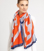 Tory's signature Reva print scarf is woven in plush cotton with the iconic logo and eye-catching pom-pom trim.Cotton42 X 80Dry cleanMade in India