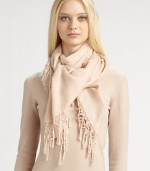 This soft, lightweight cashmere/silk style is trimmed in delicate knotted fringe.45 X 4870% cashmere/30% silkDry cleanMade in Italy of imported fabric