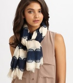 Lace stripes and that unmistakable logo detail this soft scarf with eyelash fringe hem.35 X 73ViscoseDry cleanImported