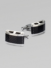 Rectangular, stainless steel cuff links with carbon inlay.Stainless steelT-back closureAbout ¾ x ½Imported