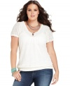 Lace up your casual look with Lucky Brand Jeans' short sleeve plus size top, punctuated by a smocked hem.