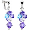 Handcrafted Blue Amethyst Crystal Cascading Drop Clip Earrings