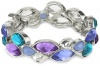 Nine West Petal Power Silver-Tone Blue and Purple Wide Stretch Bracelet