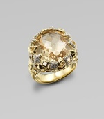 From the Tapestry Collection. A truly radiant design with a large, faceted champagne citrine stone accented with brilliant, pavé: diamonds set in 18k gold. Champagne citrineDiamonds, .46 tcw18k goldImported