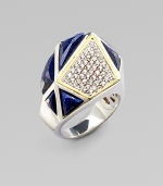 A geometric style with beautiful lapis stones and pavé white sapphires accented in 18k goldplated sterling silver. Sterling silverLapisWhite sapphires18k goldplated sterling silverWidth, about 1Imported