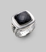 From the Albion Collection. Elegantly faceted black onyx sits with a smooth bezel and double cable band of sterling silver. Black onyx Sterling silver About ¾ square Made in USA