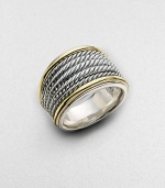 From the Wheaton Collection. A strikingly simple design combining woven rows of sterling silver with polished edges of 18k yellow gold. Sterling silver and 18k yellow gold Made in USA