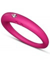 Stackable style with a hint of sparkle! DUEPUNTI's unique ring is crafted from fuchsia-hued silicone with a round-cut diamond accent. Set in silver. Ring Size Small (4-6), Medium (6-1/2-8) and Large (8-1/2-10)