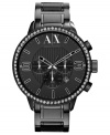 A darkly designed timepiece from AX Armani Exchange with a flash of shimmering style.