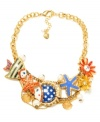 Hit the sand with this funky statement necklace from Betsey Johnson. This elaborate frontal combines gold tone mixed metal chains, multi-colored fish, red and blue starfish, yellow and red flowers, gold tone seashells, crystal accents and glass pearls. Approximate length: 16 inches + 3-inch extender. Approximate drop: 1-1/2 inches.