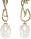 Majorica White Baroque Twisted Drop Earrings