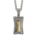 925 Silver Hammered Contemporary-Style Pendant with 18k Gold Accents