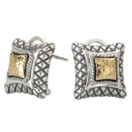 925 Silver Hammered Contemporary-Style Earrings with 18k Gold Accents