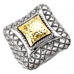 925 Silver Hammered Contemporary-Style Ring with 18k Gold Accents - Sizes 6-8