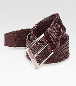 EXCLUSIVELY OURS. Richly textured design made of supple woven leather.Metal buckleSingle keeperAbout 1¼ wideImported