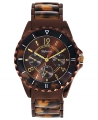 Dark brown hues create a lovely change of pace with this Style&co. watch.