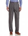 Louis Raphael Men's Modern Plaid Pleated Dress Pant with Hidden Extension, Light Gray, 42x30