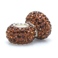 Set of 2 - Bella Fascini Rich Chocolate Brown Pave Sparkle Bling - Solid .925 Sterling Silver Core European Charm Bead Made with Authentic Swarovski Crystals - Compatible Brand Bracelets : Authentic Pandora, Chamilia, Moress, Troll, Ohm, Zable, Biagi, Kay