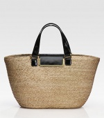 Woven straw design pairs with lustrous leather trim in this roomy carryall.Leather double top handles, 6 dropFlap-lock closureOne inside zip pocketFully lined13W X 11H X 5¼DMade in Italy