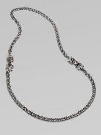 From the Jewels Verne Collection. A bold woven chain of sterling silver with a black rhodium finish has pretty filigree links with red garnet and goldplated accents.Red garnetBlack rhodium-plated sterling silver and rose goldplated sterling silverLength, about 26Imported