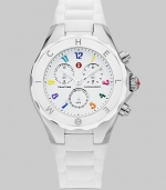 A crisp clean white dial is dotted with colorful hour markers for a distinctive timepiece.Swiss quartz movement Water resistant to 5 ATM Logo bezel Round stainless steel case, 40mm, (1.49) K1 mineral crystal White chronograph dial Numeral hour markers Second hand Silicone strap Imported