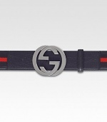 Adjustable, signature web belt with interlocking, silver GG buckle. About 1½ wide Made in Italy