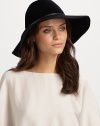 Asymmetric wide brim hat with leather and metallic O'Ring trim.Adjustable inner band One size fits most Brim, about 4 Rabbit hair Imported Please note: Sold with brush to maintain pile.