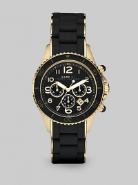 Make a statement in this technical timepiece with a rose goldtone ion-plated case, enamel accents and silicone wrapped link bracelet. Quartz movementWater resistant to 5 ATMRound rose goldtone ion-plated stainless steel case, 40mm (1.6)Black decorative bezelBlack chronograph dialNumeric hour markersDate display between 4 and 5 o'clockSecond hand Rose goldtone ion-plated and black silicone wrapped stainless steel link braceletImported