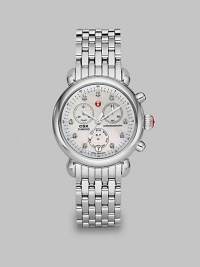From the CSX Collection. A dazzling diamond accented design with a technical chronograph dial on a stainless steel bracelet.Quartz movementWater resistant to 5 ATMRound stainless steel case, 36mm (1.4)Diamond accented bezel and markers, .64 tcwMother-of-pearl chronograph dialDate function at 6 o'clockSecond handStainless steel link braceletImported