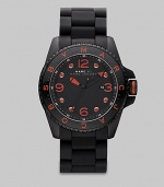 In basic black and vivid orange, a sporty watch that promises to make a statement.QuartzWater-resistant to 5 ATMRound case; 45mm (1.8)Black dial with orange aluminum detailsNumbers and markersDate display at 3 o'clockSecond handStainless steel with silicone wrap strapMade in Japan