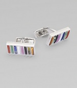 Rhodium-plated sterling silver set with semi-precious stones define these rectangular cufflinks.Rhodium-plated sterling silverAbout ½ in diam.Made in the United Kingdom