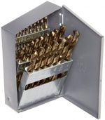 Chicago Latrobe 550 Series Cobalt Steel Jobber Length Drill Bit Set with Metal Case, Gold Oxide Finish, 135 Degree Split Point, Inch, 29-piece, 1/16 - 1/2 in 1/64 increments