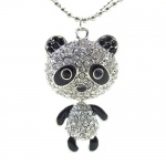 DaisyJewel DJ Couture Lucky Panda Bear Necklace: Crystal Encrusted Pave Panda Bear Pendant with Black Enamel Accents and a Solid Three Dimensional 1 1/2 In. Platinum Plated Silver Body Hanging From an Elegant 30 In. Double Ball Chain with Lobster Clasp