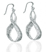 CleverEve Designer Series Diamond Textured Infinity .925 Sterling Silver Dangle Earrings - French Wire 40.00 x 19.00mm