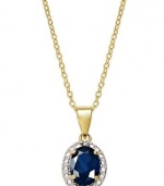 Victoria Townsend 18k Gold over Sterling Silver Necklace, 18 Blue Sapphire (1-1/2 ct. t.w.) and Diamond Accent Oval Pendant