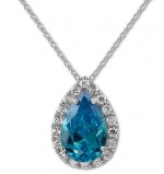 B. Brilliant Sterling Silver Necklace, 18 London Blue Cubic Zirconia Pear Necklace