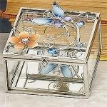 Blue Butterfly Glass Jewelry Box Container Accessory Jewel Holder